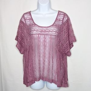 Free People Sheer Lace Short Sleeve Blouse Sz Med